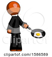 Orange Clergy Man Frying Egg In Pan Or Wok Facing Right