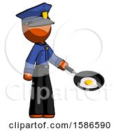 Poster, Art Print Of Orange Police Man Frying Egg In Pan Or Wok Facing Right