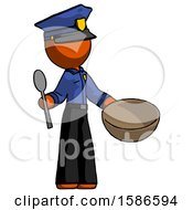 Orange Police Man With Empty Bowl And Spoon Ready To Make Something