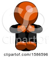 Orange Clergy Man Sitting With Head Down Facing Forward