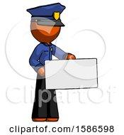 Orange Police Man Presenting Large Envelope