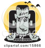 Frankenstein Slumped Over And Bats Flying Past Clipart Illustration