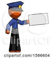 Orange Police Man Holding Large Envelope