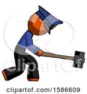 Orange Police Man Hitting With Sledgehammer Or Smashing Something