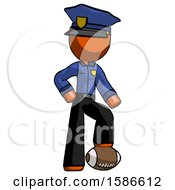 Orange Police Man Standing With Foot On Football