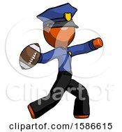 Orange Police Man Throwing Football