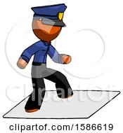 Orange Police Man On Postage Envelope Surfing