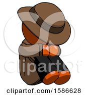 Orange Detective Man Sitting With Head Down Facing Angle Right