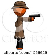 Orange Detective Man Firing A Handgun