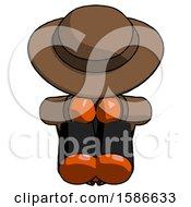 Orange Detective Man Sitting With Head Down Facing Forward