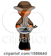 Orange Detective Man Serving Or Presenting Noodles