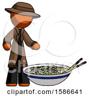 Orange Detective Man And Noodle Bowl Giant Soup Restaraunt Concept