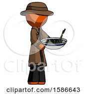 Orange Detective Man Holding Noodles Offering To Viewer