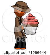 Orange Detective Man Holding Large Cupcake Ready To Eat Or Serve