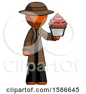 Orange Detective Man Presenting Pink Cupcake To Viewer
