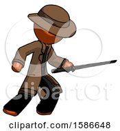 Orange Detective Man Stabbing With Ninja Sword Katana