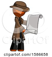 Orange Detective Man Holding Blueprints Or Scroll