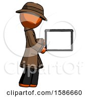 Orange Detective Man Show Tablet Device Computer To Viewer Blank Area