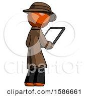 Orange Detective Man Looking At Tablet Device Computer Facing Away