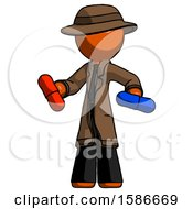 Orange Detective Man Red Pill Or Blue Pill Concept