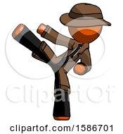 Orange Detective Man Ninja Kick Left