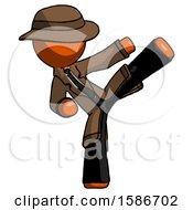 Orange Detective Man Ninja Kick Right