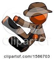 Orange Detective Man Flying Ninja Kick Left