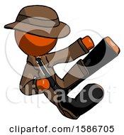 Orange Detective Man Flying Ninja Kick Right