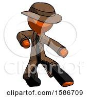 Orange Detective Man Karate Defense Pose Right