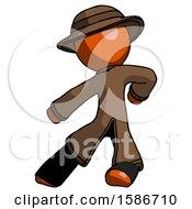 Orange Detective Man Karate Defense Pose Left