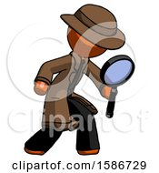 Orange Detective Man Inspecting With Large Magnifying Glass Right