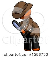 Orange Detective Man Inspecting With Large Magnifying Glass Left
