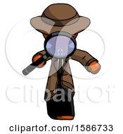 Orange Detective Man Looking Down Through Magnifying Glass