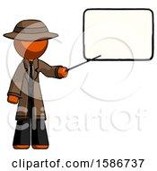 Orange Detective Man Giving Presentation In Front Of Dry Erase Board