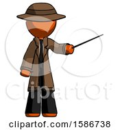 Orange Detective Man Teacher Or Conductor With Stick Or Baton Directing