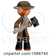 Orange Detective Man With Sledgehammer Standing Ready To Work Or Defend