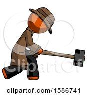 Orange Detective Man Hitting With Sledgehammer Or Smashing Something