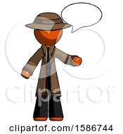 Orange Detective Man With Word Bubble Talking Chat Icon
