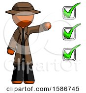 Orange Detective Man Standing By List Of Checkmarks