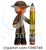 Orange Detective Man With Large Pencil Standing Ready To Write