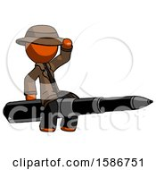 Orange Detective Man Riding A Pen Like A Giant Rocket