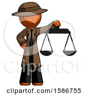 Orange Detective Man Holding Scales Of Justice