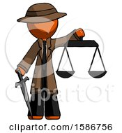 Orange Detective Man Justice Concept With Scales And Sword Justicia Derived
