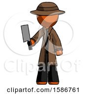 Orange Detective Man Holding Meat Cleaver