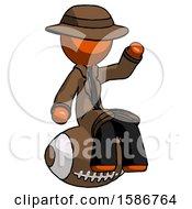 Orange Detective Man Sitting On Giant Football