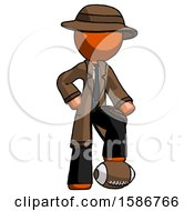 Orange Detective Man Standing With Foot On Football