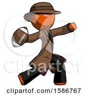 Orange Detective Man Throwing Football