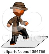 Orange Detective Man On Postage Envelope Surfing