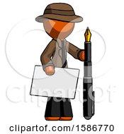 Orange Detective Man Holding Large Envelope And Calligraphy Pen