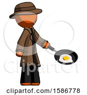 Orange Detective Man Frying Egg In Pan Or Wok Facing Right